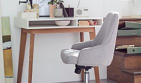 Desk and chair in home workspace
