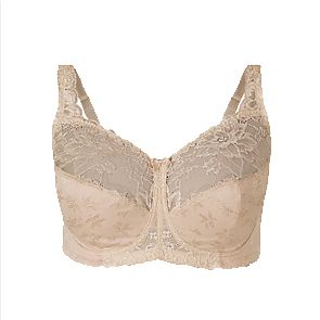 Jacquard & Lace non-padded full-cup bra