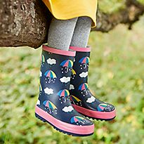 Wellies with rainbow umbrellas and clouds