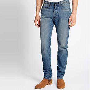 Shop tapered fit jeans