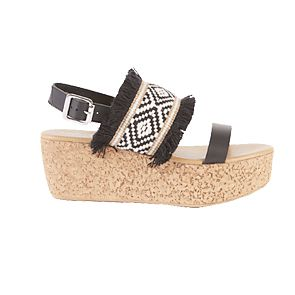 Black and white woven flatform sandals