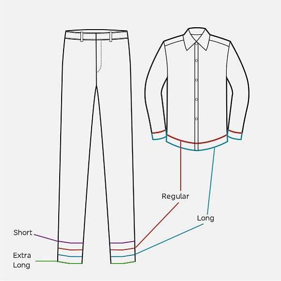 A line diagram of a shirt and trousers showing various lengths available for kids