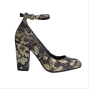Gold jacquard ankle strap court shoes