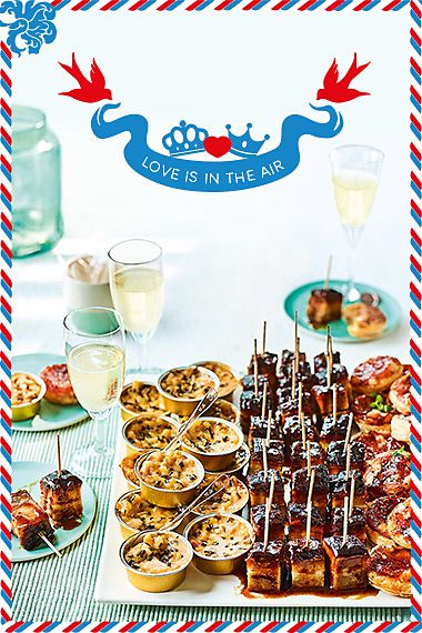 Selection of party food with champagne