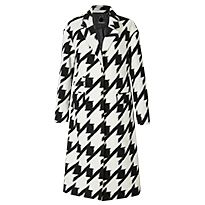 Wool Blend Dogtooth Print Coat in black and white