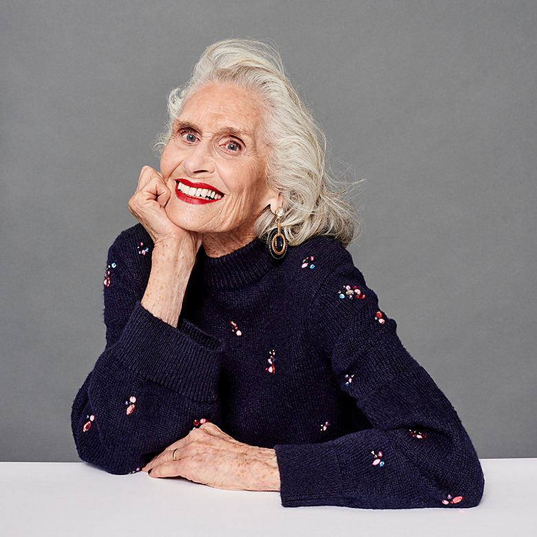 Model Daphne Selfe wears black embellished jumper
