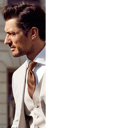David Gandy wearing three piece linen suit, shirt and tie