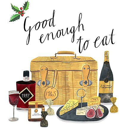 Illustration of M&S hamper with food and wine