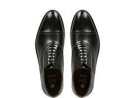 Leather toe cap mens brogue shoes