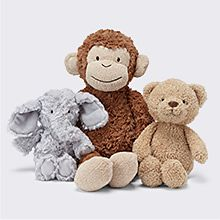 Cuddly bears and elephant toys
