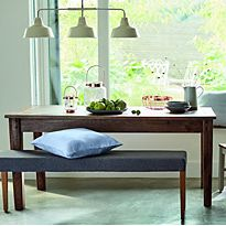 Wooden dining room table and bench set