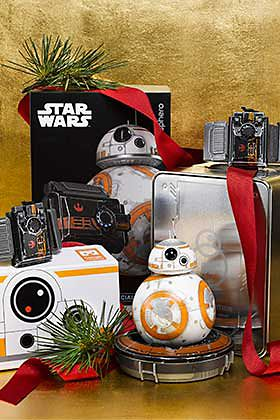 Various Star Wars toys and gadgets