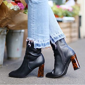 Pair of ankle boots with tortoiseshell heel