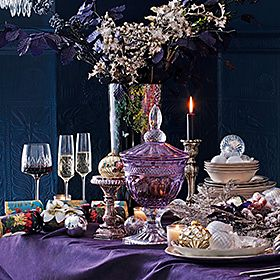 Glassware and decorations on a Christmas table