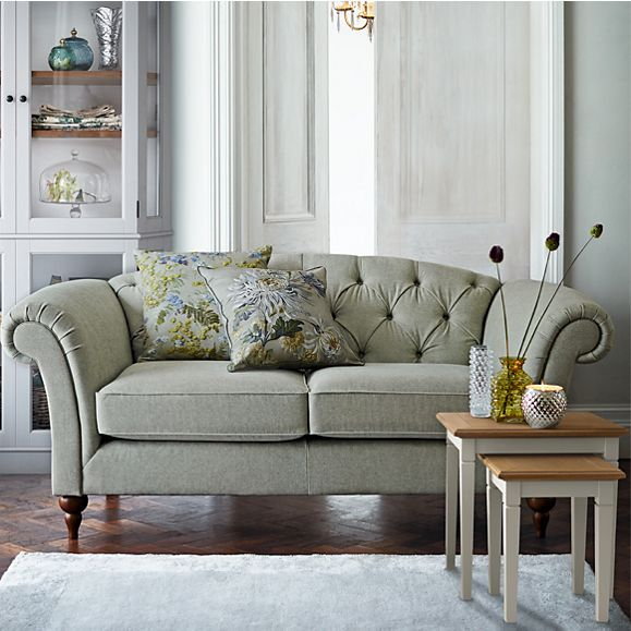 Pale Green Chesterfield sofa and side tables