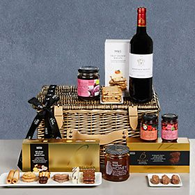 Hamper with food and wine