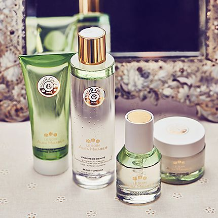 Roger & Gallet skin care on a dressing table