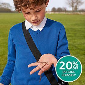 Boy wearing M&S school jumper with Staynew technology