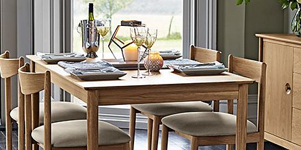A dining table and dining chairs