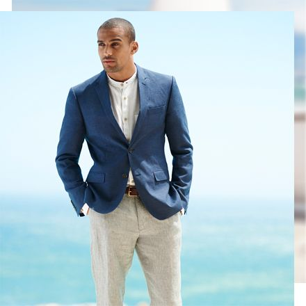 Model in linen jacket and trousers