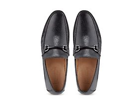 Leather slip on mens loafers