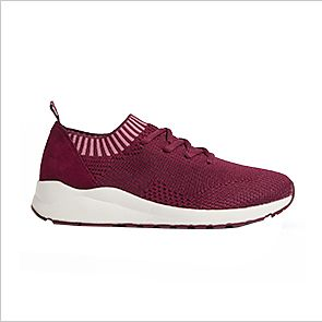 Red lace up trainers