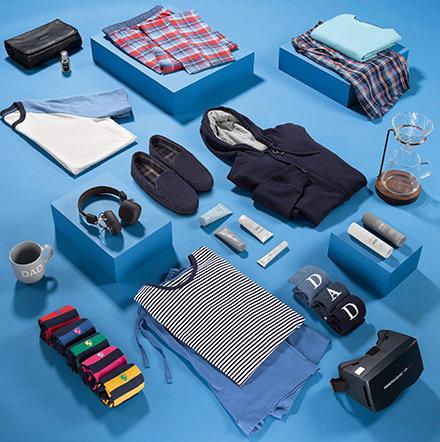 Various men's clothing and accessories for Father's Day gifts