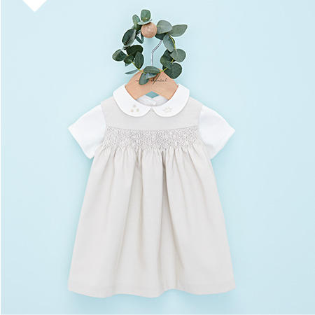 Grey and white cotton peter pan collar dress