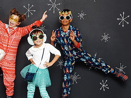 Kids wearing Christmas nightwear