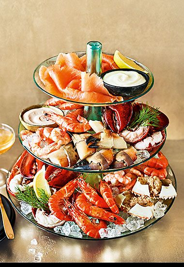 The Collection luxury seafood platter served with champagne