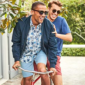 Men wearing summer shorts