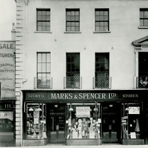 Black and white image of Marks and Spencer storefront