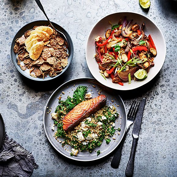 A selection of vitamin-rich meals for the day