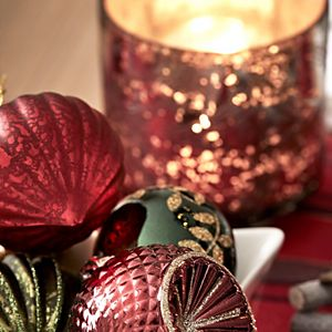 Close-up of Christmas table decorations