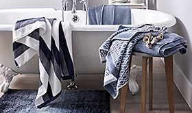 Black, white and grey towels