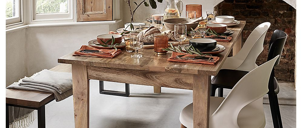Wooden table with matching dinnerware