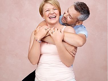 Sam and Jason taking part in the M&S Breast Cancer Now campaign