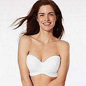 Woman wearing a white strapless bra