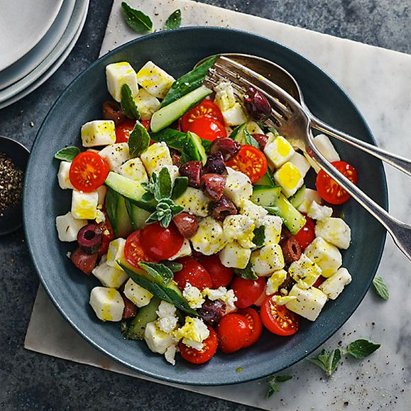 Tomato, olive and cucumber salad with Plant Kitchen Greek-style cubes