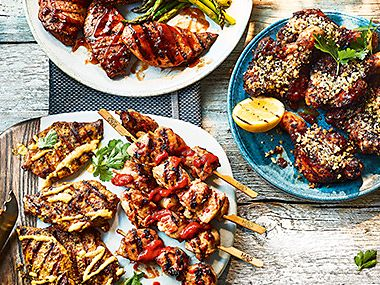 Barbecued kebabs and chicken