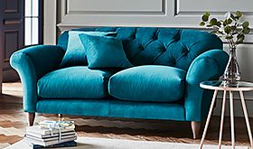 Newbury blue velvet sofa in living room