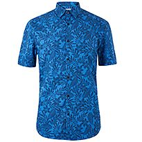 Men's blue printed short sleeve shirt