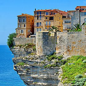 A view of houses on Bonifacio cliffs in Corsica