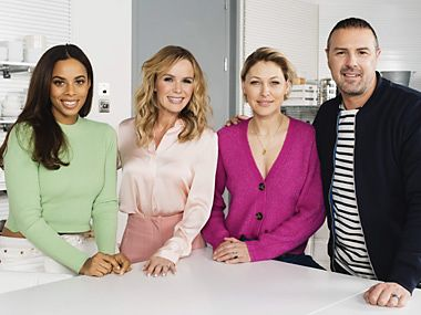Rochelle Humes, Amanda Holden, Emma Willis and Paddy McGuinness in the M&S tasting kitchen