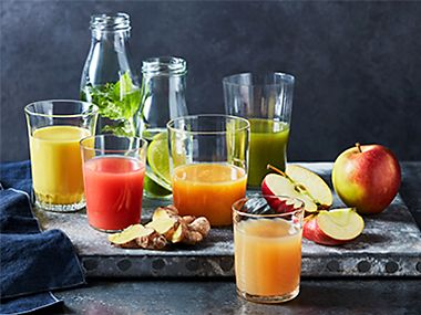 Selection of fruit and vegetable juices