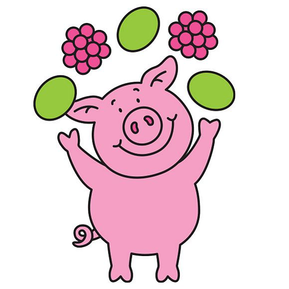 Percy Pig juggling fruit