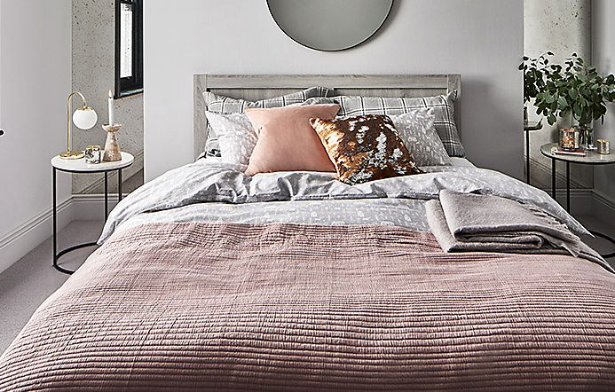 Winter bedding set on bed