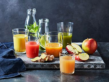 Selection of healthy fruit juices and smoothies