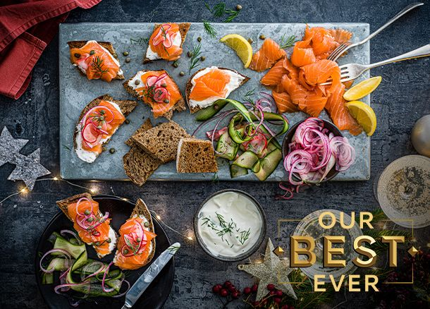 Our Best Ever smoked salmon served as a festive starter
