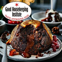 Chocolate and orange Christmas pudding with melting middle